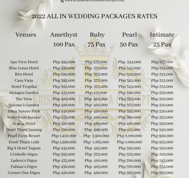 2022 ALL IN WEDDING PACKAGES RATES