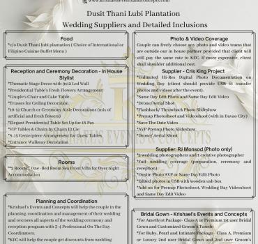 dusit thani lubi plantation wedding suppliers and detaild inclusion