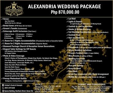 Alexandria Davao Wedding Package