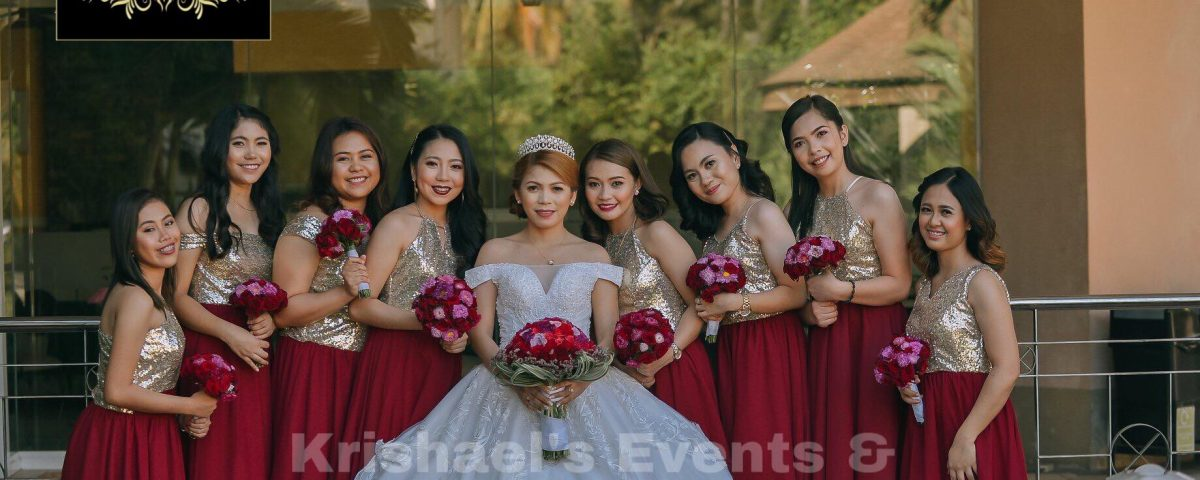 Gold/Marsala bridesmaid dress
