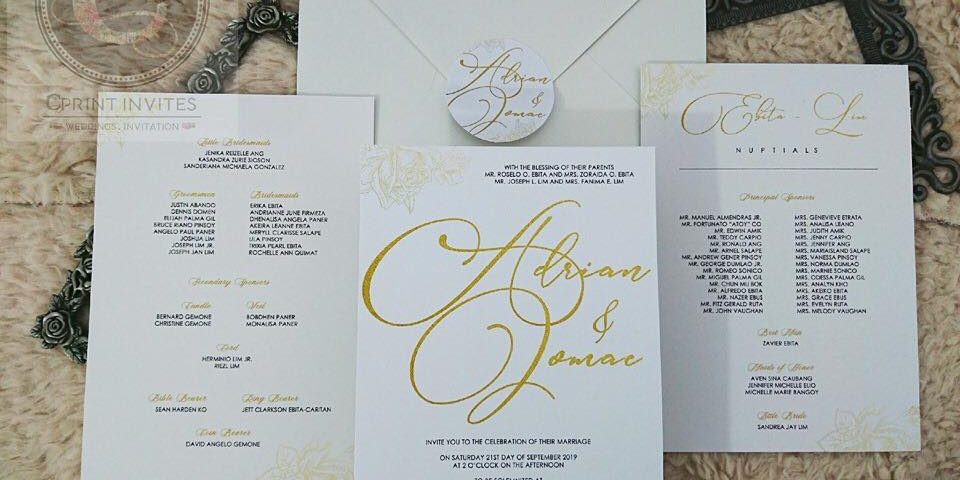 Sample invitations under Amethyst All In Wedding Package