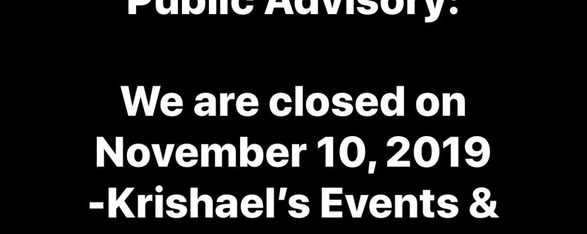 Public Advisory: We are closed on November 10, 2019