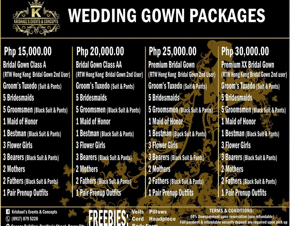 Our new wedding gown packages rates for 2020. BOOK FOR AS LOW AS 15K on our wedd...