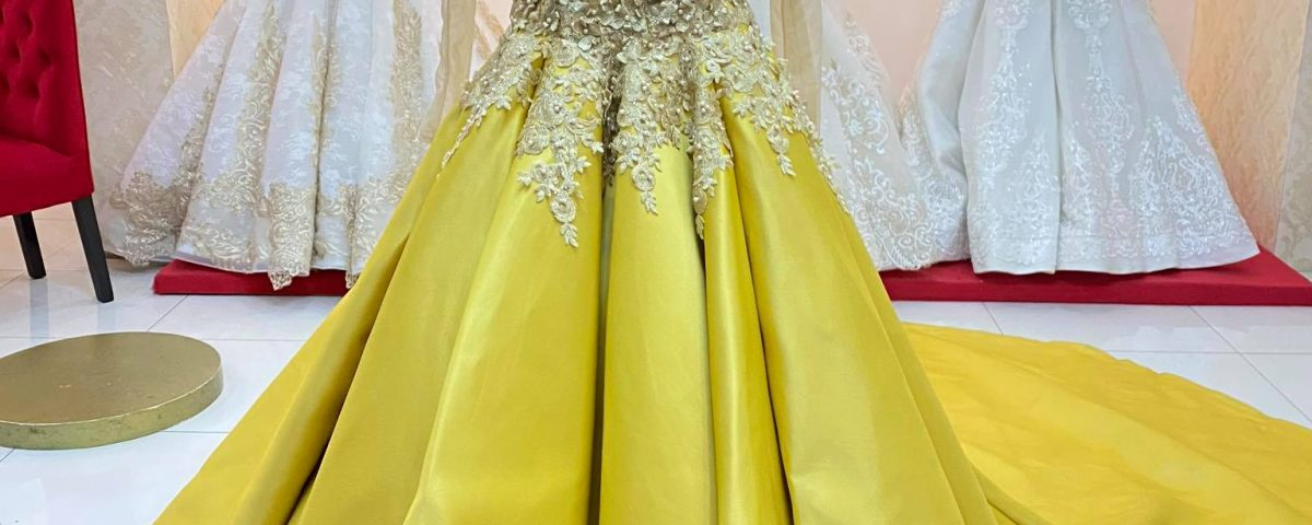 Class AA Gold Longsleeve BallGown. No 1st User Yet.