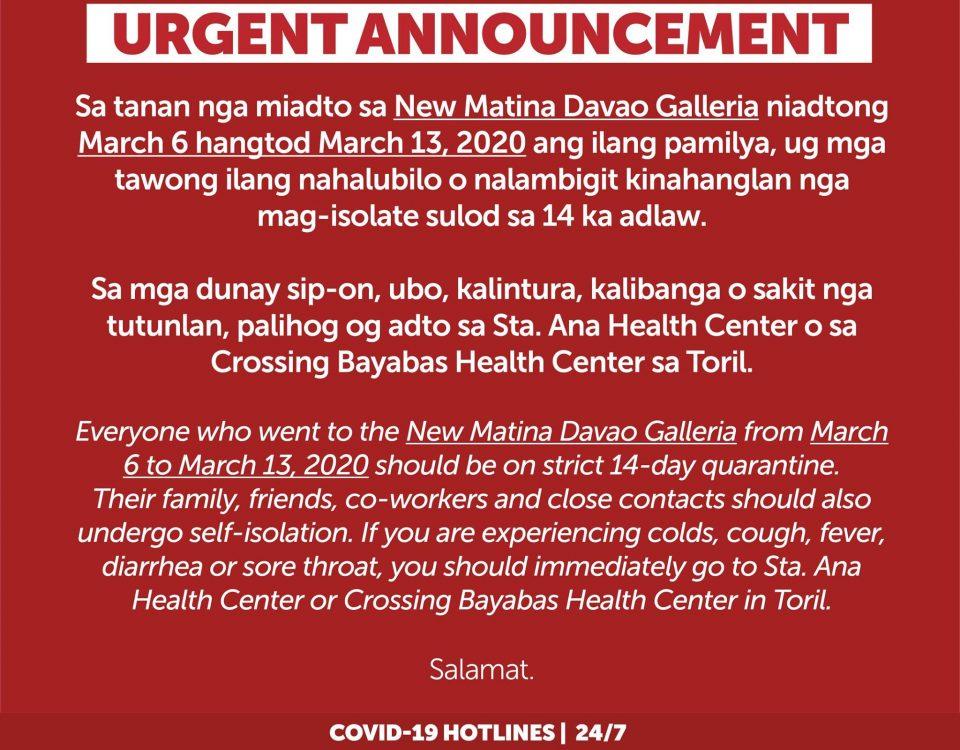 URGENT ANNOUNCEMENT  Sa tanan nga miadto sa New Matina Davao Galleria niadtong M...