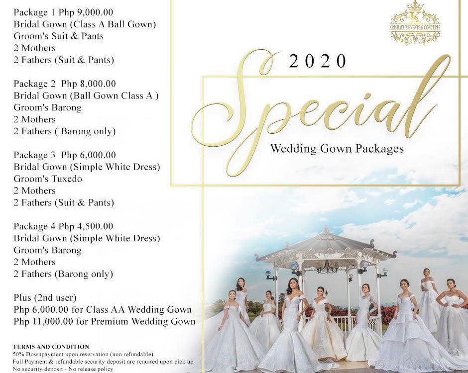 2020 Special Wedding Gown Packages Rate for AS LOW AS Php 4,500.00 with Free Lon...