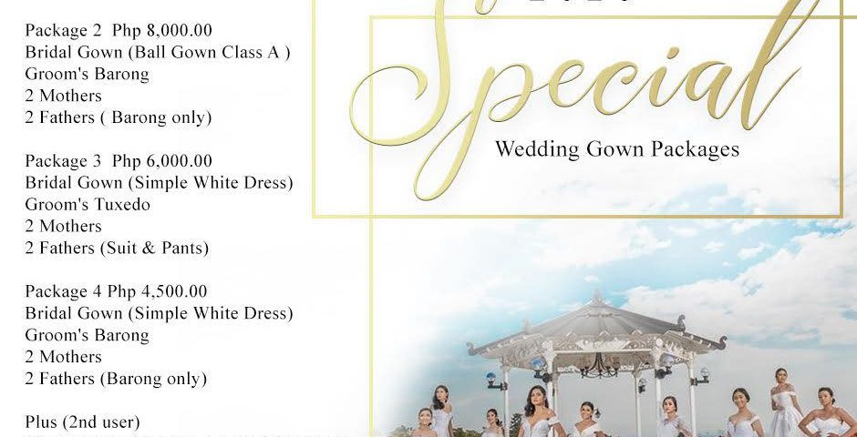 2020 Special Wedding Gown Packages Rates by Krishael's Events & Concepts. Fr...