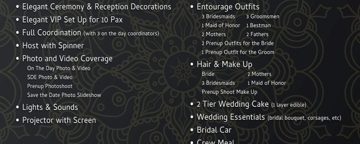 2020 Wedding Packages. Applicable for 2021 wedding if book with in this year.