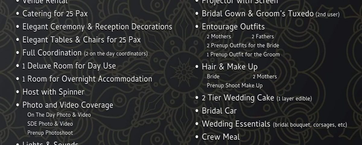 Updated Wedding Packages Rates