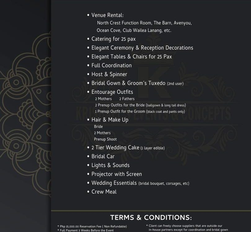 Krishael's Events & Concepts offers All In Wedding Package but excludes phot...