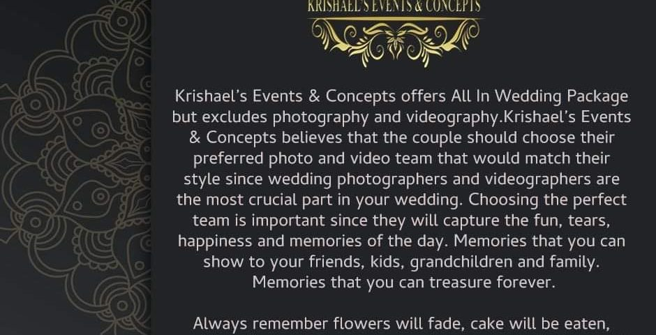 Public Advisory:  Krishael's Events & Concepts offers All In Wedding Package but...