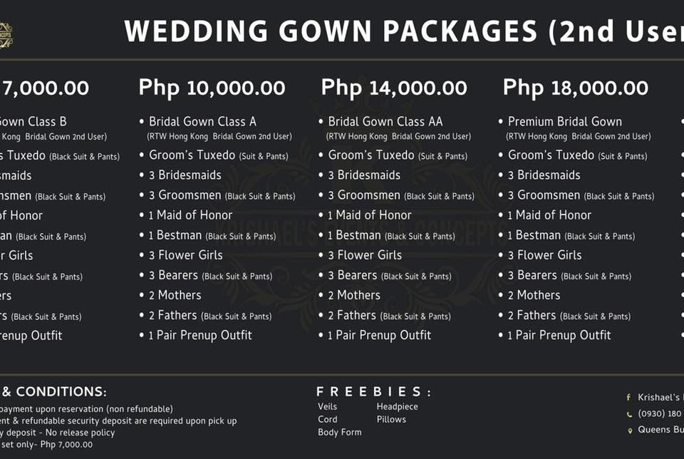 Regular Wedding Gown Rates after Promo Period.   Like our Page | Krishael's Even...