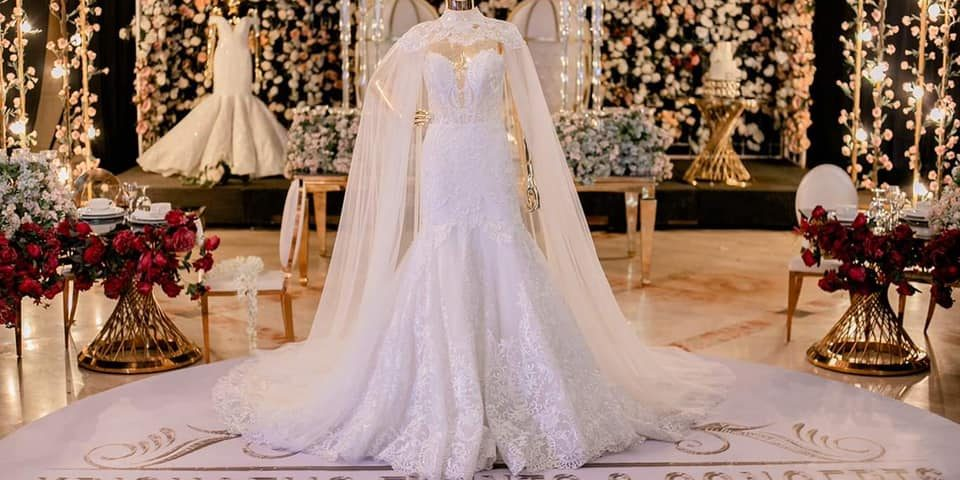 Class AA Wedding Gown with removable cape for 1st user rent.   Krishael's Events...